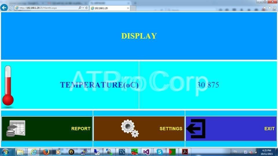 giám sát cảnh báo nhiệt độ kho lạnh - giao diện display