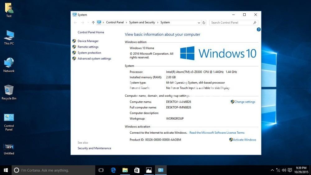 THÔNG SỐ KỸ THUẬT Wintel Pro CX-W8 WINDOWS 10