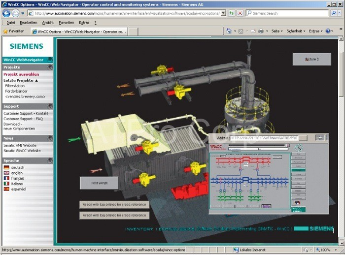 Scada web server siemen cung cấp các công cụ để thiết lập giao diện điều khiển
