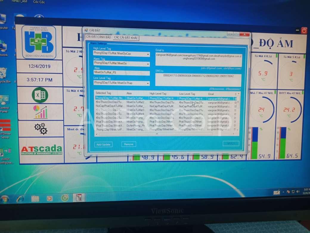 Hệ thống giám sát và cảnh báo nhiệt độ - giao diện phần mềm