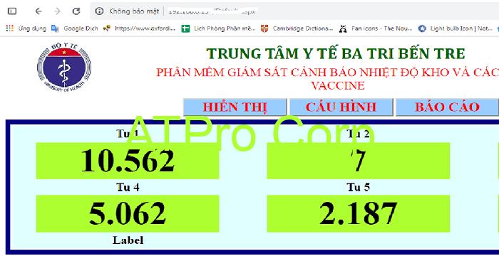 Bộ giám sát nhiệt độ tủ vaccine - giao diện phần mềm