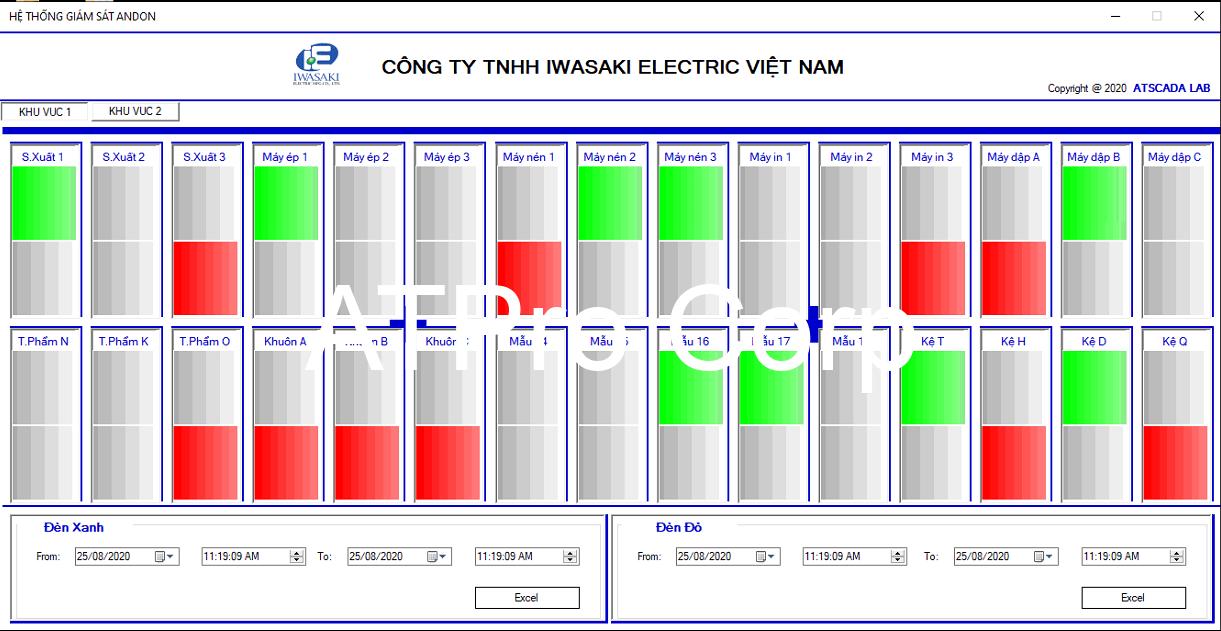 hệ thống andon báo hiệu trong sản xuất - giao diện phần mềm