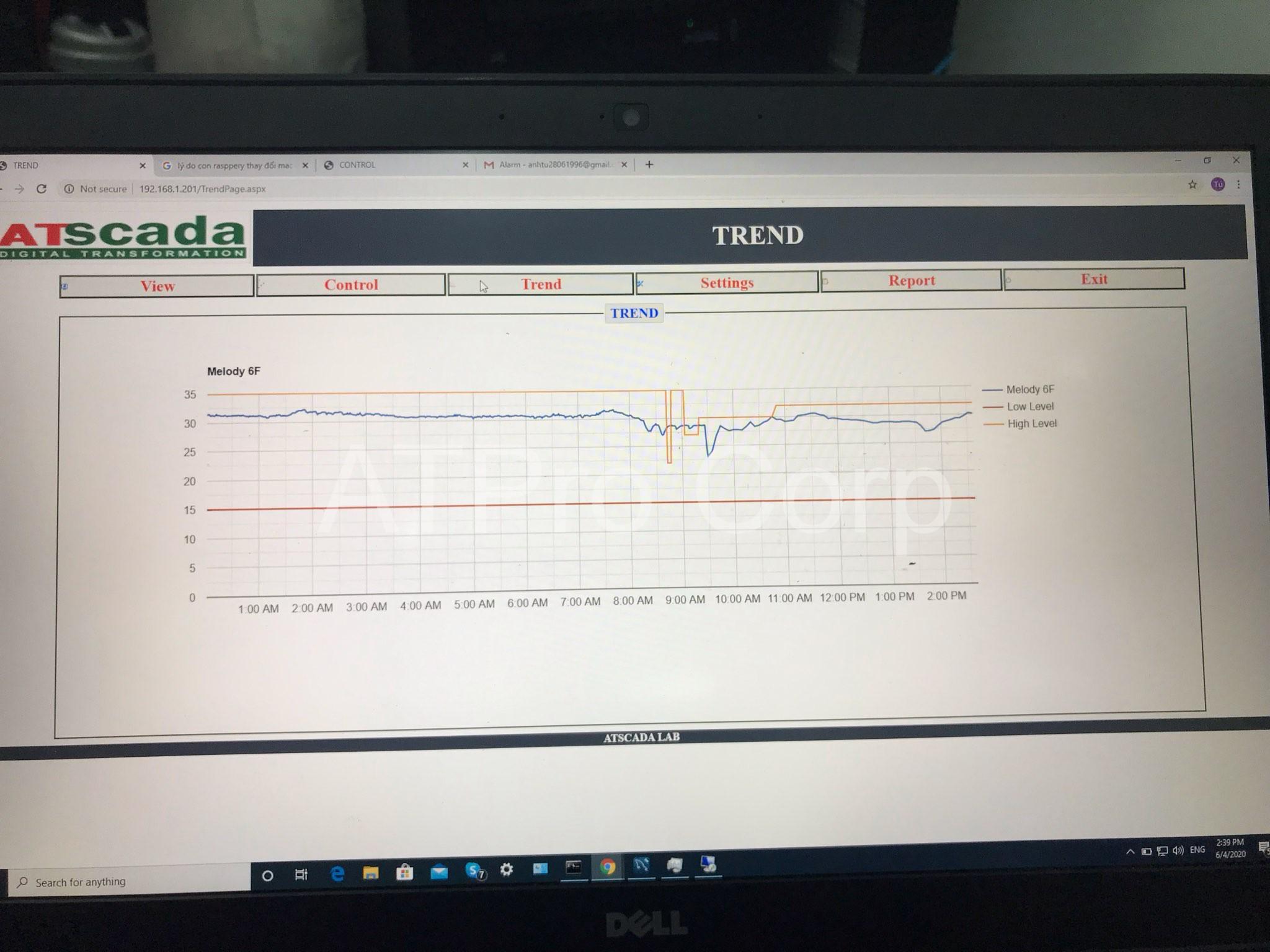 hệ thống theo dõi cảnh báo nhiệt độ phòng server - giao diện phần mềm