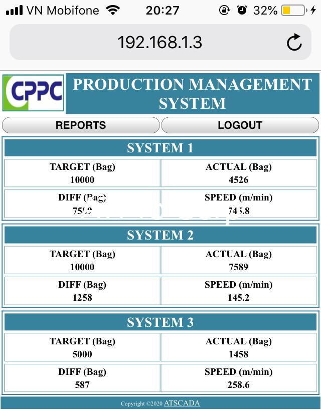 Hệ thống giám sát sản xuất - Giao diện phần mềm webserver
